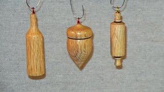 Turning Three Christmas Tree Ornaments - Acorn, Rolling Pin, Wine Bottle