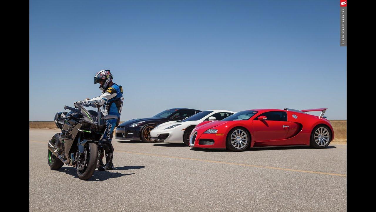 bugatti veyron vs kawasaki h2r 2015 - youtube