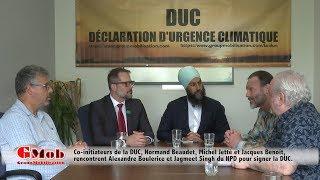 Jagmeet Singh, chef du NPD et Alexandre Boulerice, chef adjoint du NPD, endossent la DUC