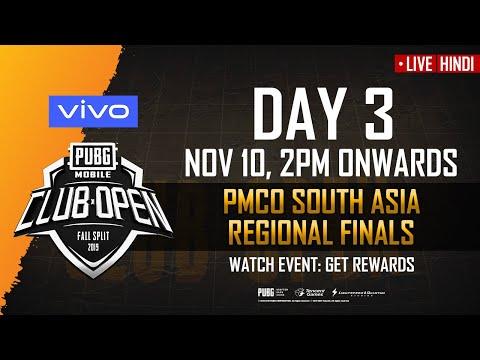 [Hindi] PMCO South Asia Finals Day 3 | Vivo  | Fall Split | PUBG MOBILE CLUB OPEN 2019