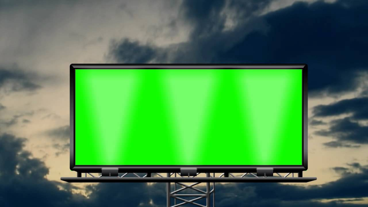 billboard in the rainy cloud 02 in green screen free stock footage