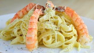 Быстрый ужин ☆ Паста с креветками в сливочном соусе