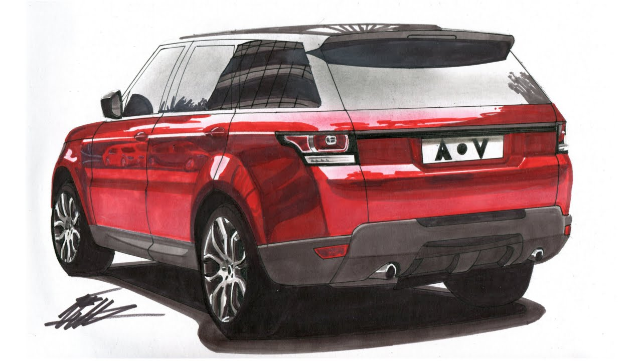 Range Rover Drawing >> Realistic Car Drawing - Range Rover Sport - Time Lapse - YouTube