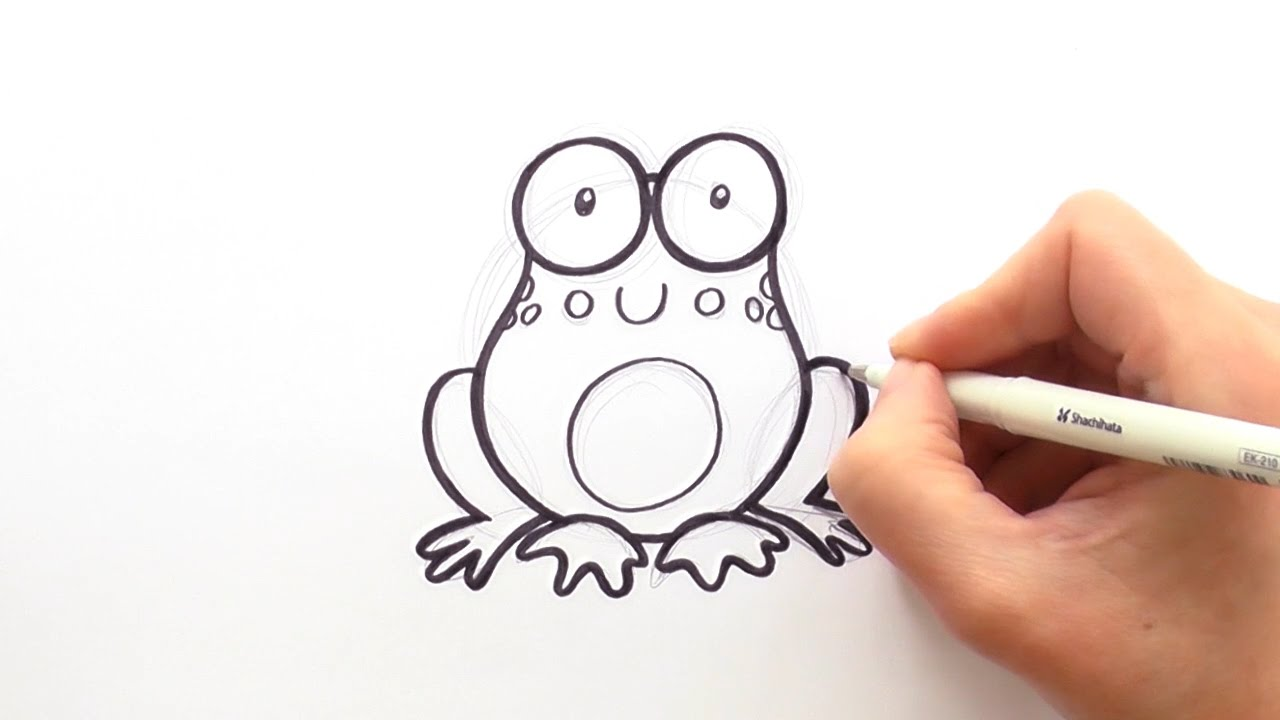 how to draw a cartoon frog youtube
