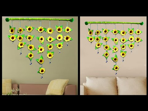 DIY PAPER SUNFLOWER WALL HANGING || SUNFLOWER HOME DECORATION IDEAS
