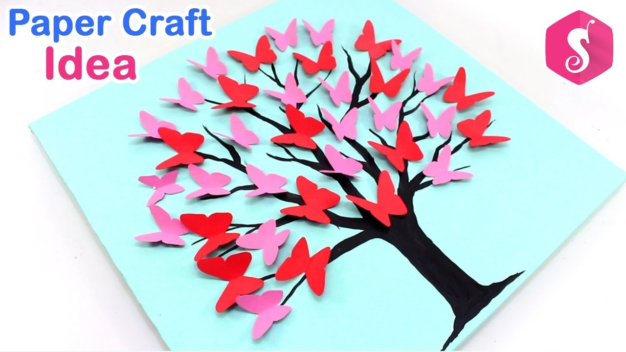 Paper Craft Idea Make 3d Butterfly Tree Wall Showpiece For Wall Decor Youtube