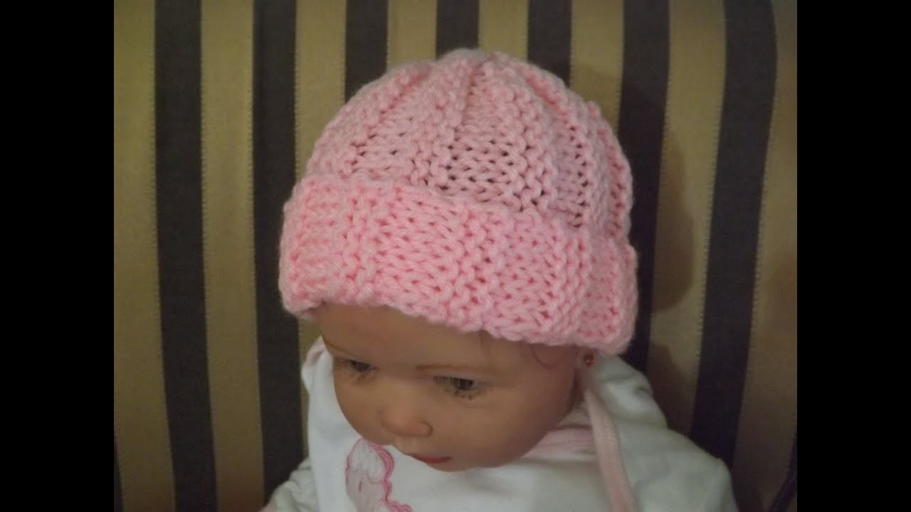 Gorrito para bebe tejido con dos aguja, Punto Acanelado. Con Ruby Stedman , YouTube