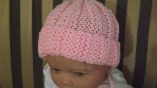 Repeat youtube video Gorrito para bebe' tejido con dos aguja, Punto Acanelado. Con Ruby Stedman