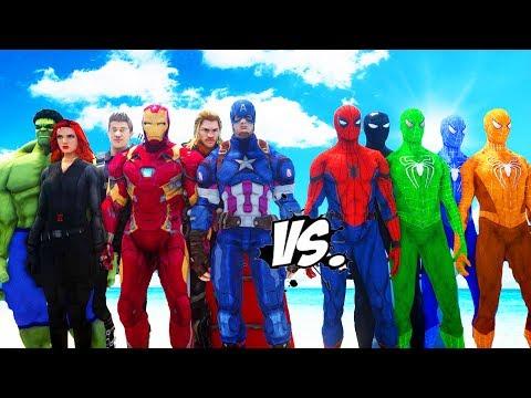 THE AVENGERS VS SPIDER-MAN, GREEN SPIDERMAN, BLUE SPIDERMAN, ORANGE SPIDERMAN, BLACK SPIDERMAN