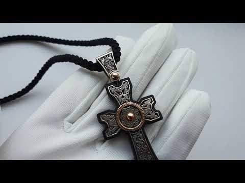 Армянский крест из серебра и золото ,основа черное дерево эбен