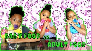 BABY FOOD vs ADULT FOOD CHALLENGE!!!