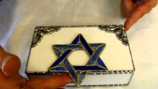 Judaic Design - Stained Glass Jewelry Box In White And Blue