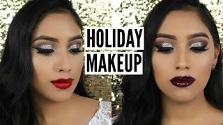 EASY Classic Glitter Holiday Makeup Tutorial | 2 Lip Options