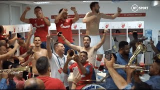 Amazing dressing room scenes! Red Star celebrate with brass band after Champions League win
