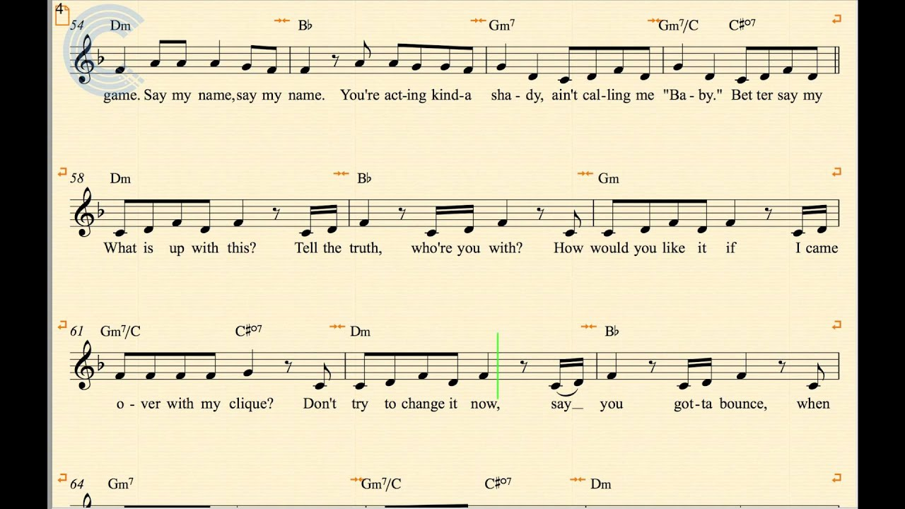 Trumpet   Say My Name   Destiny's Child   Sheet Music, Chords, and Vocals