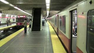 HD MBTA Red Line Trains in Park St.