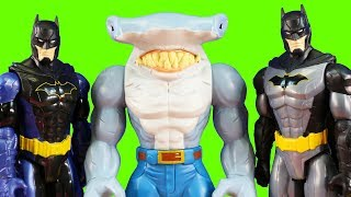 Just4fun290 Plays With New Batman Toys! Talking Rapid Change Utility Belt Batman And King Shark!