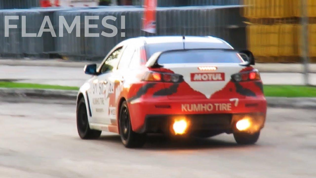 CRAZY Mitsubishi Lancer Evo X Drifting! Anti Lag, Backfires And FLAMES!