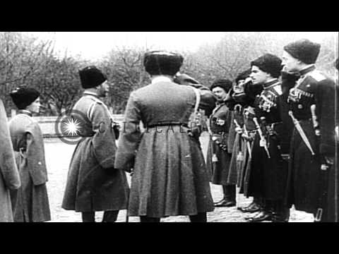 Czar Nicholas II reviews his soldiers and Alexander Kerensky and then Bolsheviks ...HD Stock Footage
