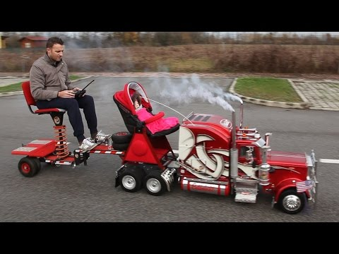 """Giant Model Peterbilt 359 RC with """"Biga"""" and Stroller"""