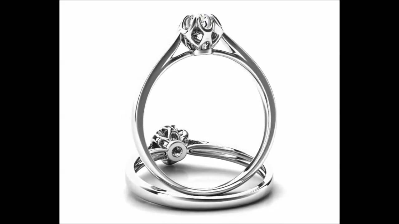 8781316b2 Zásnubní prsten bílého zlata briliantem - YouTube