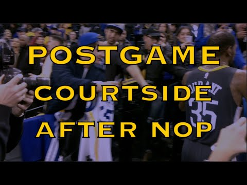 Postgame courtside: Steph Curry, Draymond, KD (Durant) go on-air, Anthony Davis & Ian Clark