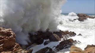 Big ocean waves crashing into rocks and exploding - HD 1080P