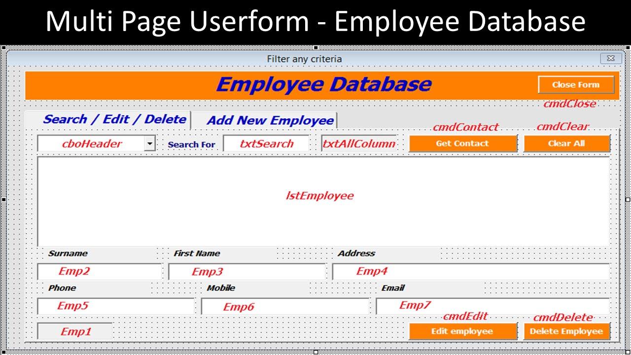 Multi Page Userform Employee Database