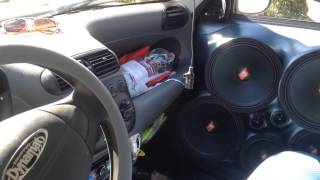 10000 watt sound system! Fiat 600 seicento 4 12s Phonocar spl subwoofer move some air and flex!