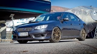 waxing subaru legacy spec b with supercharger 422hp 520nm, donuts, revs