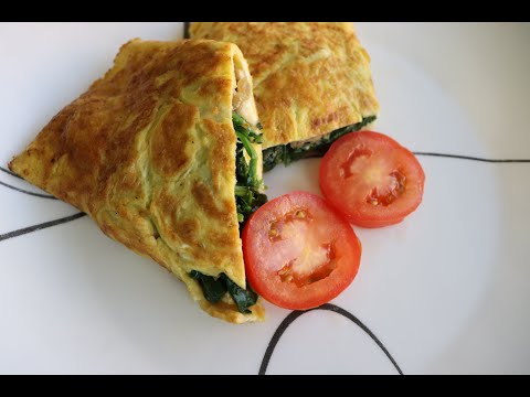 omelette-aux-epinards-et-au-champignon/-easy-spinach-and-mushroom-omelet-recipe