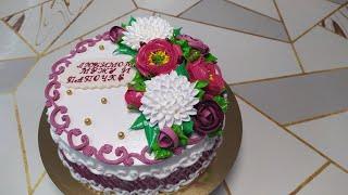 Торт Сникерс с кремовыми розами пионами и хризантемами на юбилей мужчине