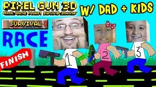 Dad & Kids play Pixel Gun 3D: SURVIVAL RACE (pt. 3) (iOS Multiplayer Face Cam)