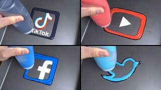 social media pancake art - youtube, facebook, tiktok, twitter