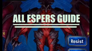 FFBE - All Espers Guide - Which Espers Are For Which Characters