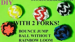 How to make bouncy balls toy with two forks. Without loom. rubber band bounce. Tutorial diy.