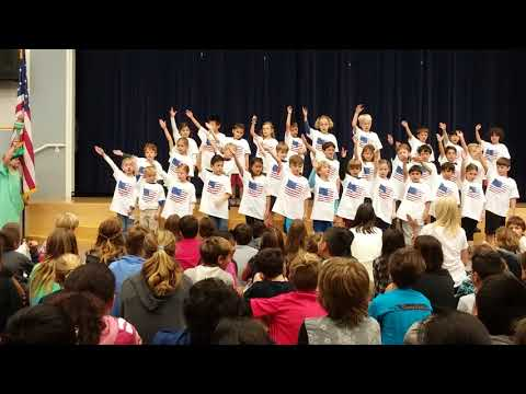 First Graders at Del Mar Hills Elementary School sing about USA
