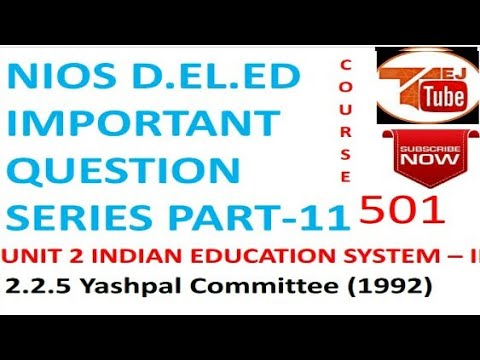 NIOS D.EL.ED IMPORTANT QUESTION SERIES PART-11  Free Online Education Books College Degree |TEJ TUBE