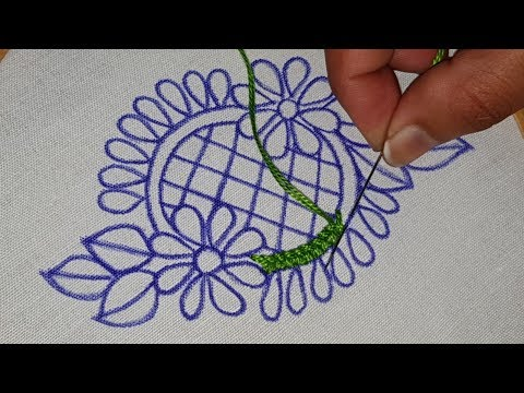 Hand Embroidery:Butta Design with Lazy Daisy Brazilian Embroidery