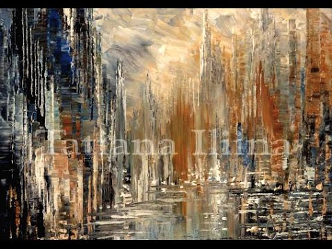 speed painting demo of abstract city skyline with palette knife by