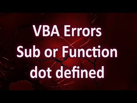 VBA Errors   Compile Error   Sub Or Function Not Defined