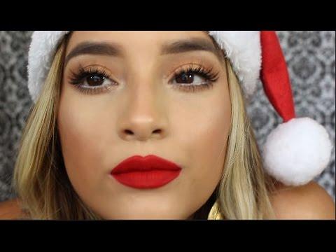 EASY Christmas Makeup Tutorial l Beginner Friendly Eyeshadow Routine l  Bronze Eye Red Lip