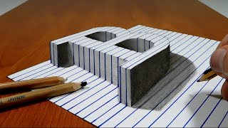 Draw a Letter B on Line Paper   3D Trick Art