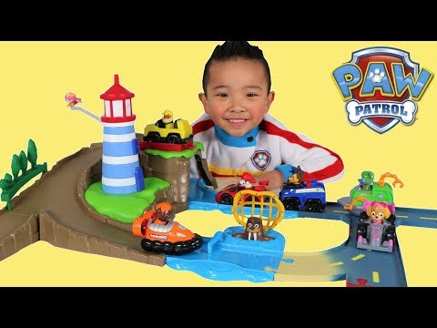 Paw Patrol Skye & Zuma's Lighthouse Rescue Track Set Toy Unboxing Fun With Ckn Toys