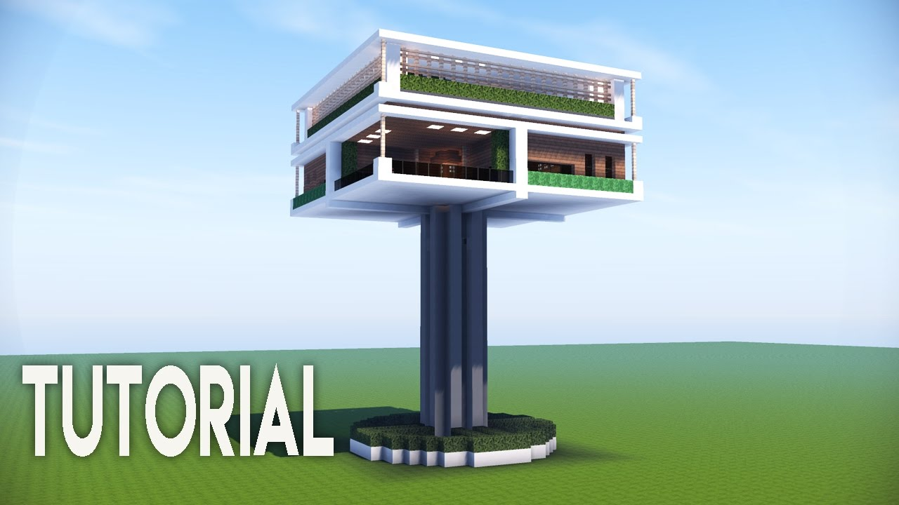 Minecraft Easy Modern House Modern Tree House Best Modern Tutorial Roof Garden Survival Base Minecraft Map