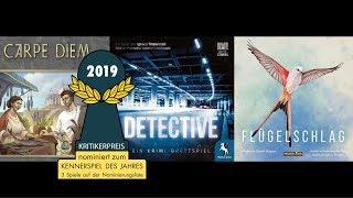 Kennerspiel des Jahres 2019: nominiert sind Flügelschlag, Detective und Carpe Diem