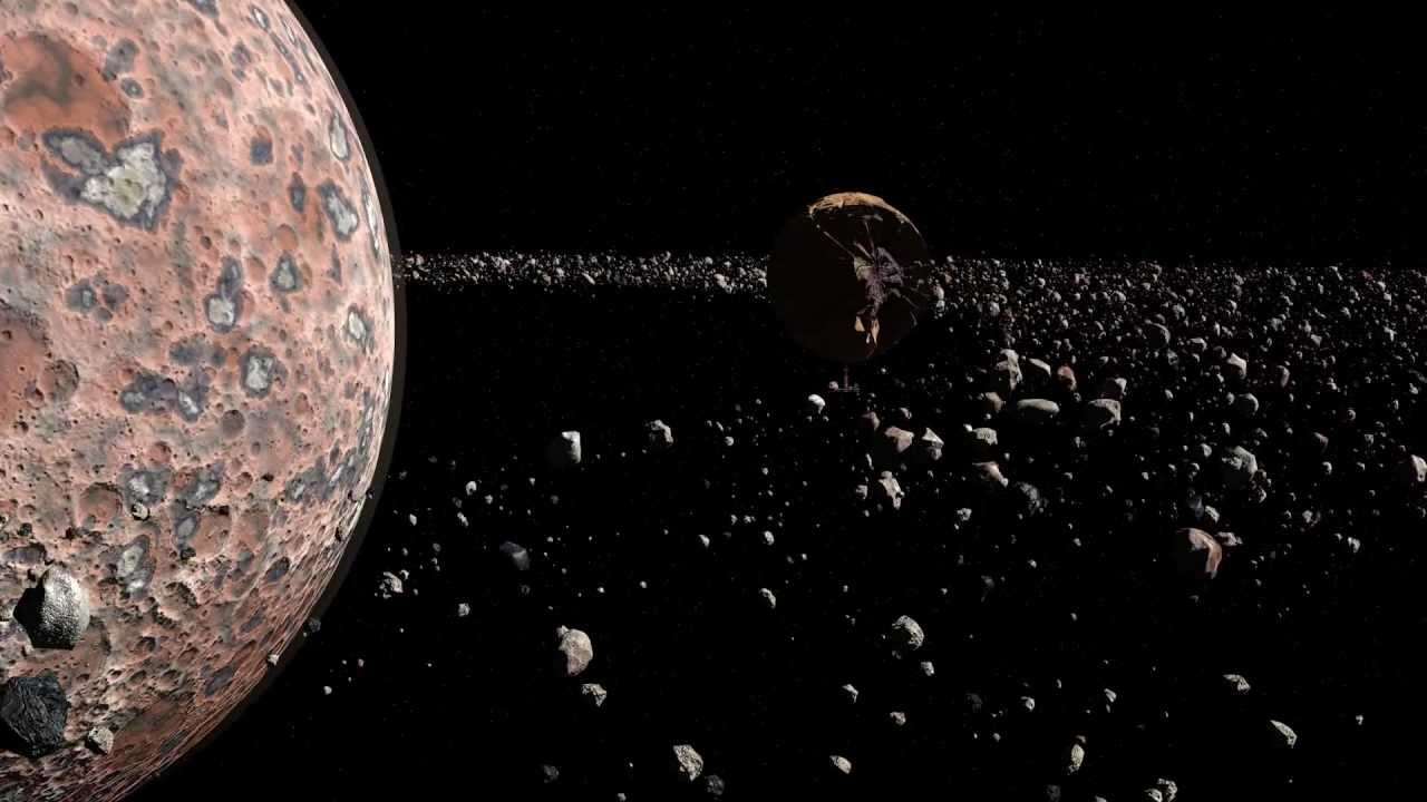 Flight through planets asteroid rings - YouTube