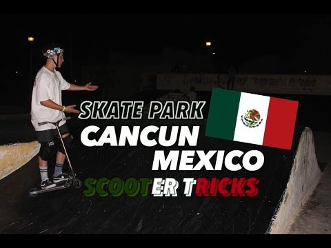 SKATE PARK IN CANCUN MEXICO! ( i tried flairing a bank )