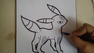 COMO DIBUJAR A UMBREON - POKEMON / how to draw umbreon - pokemon