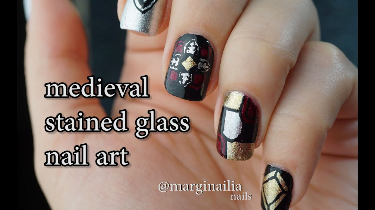 Medieval Stained Glass Nail Art Tutorial Youtube